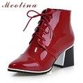 Javan meotina primavera zapatos de moda mujer botas botines punta estrecha mujer Ata Para Arriba el Talón de Grosor Medio Patea Los Zapatos Grandes del Tamaño 41