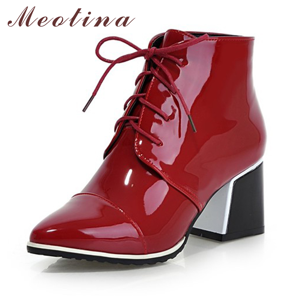 Meotina Shoes Women Boots Fashion Lace Up Martin Boots Pointed Toe High Heel Ankle Boots Winter Autumn Shoes Red White Size 9 43 new 2016 fashion women winter shoes big size 33 47 solid pu leather lace up high heel ankle boots zapatos mujer mle f15
