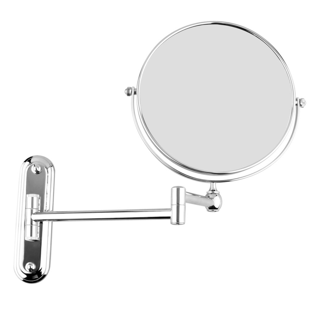 Bathroom Extendable Mirror - Silver extending 8 inches cosmetic wall mounted make up mirror shaving bathroom mirror 3x magnification