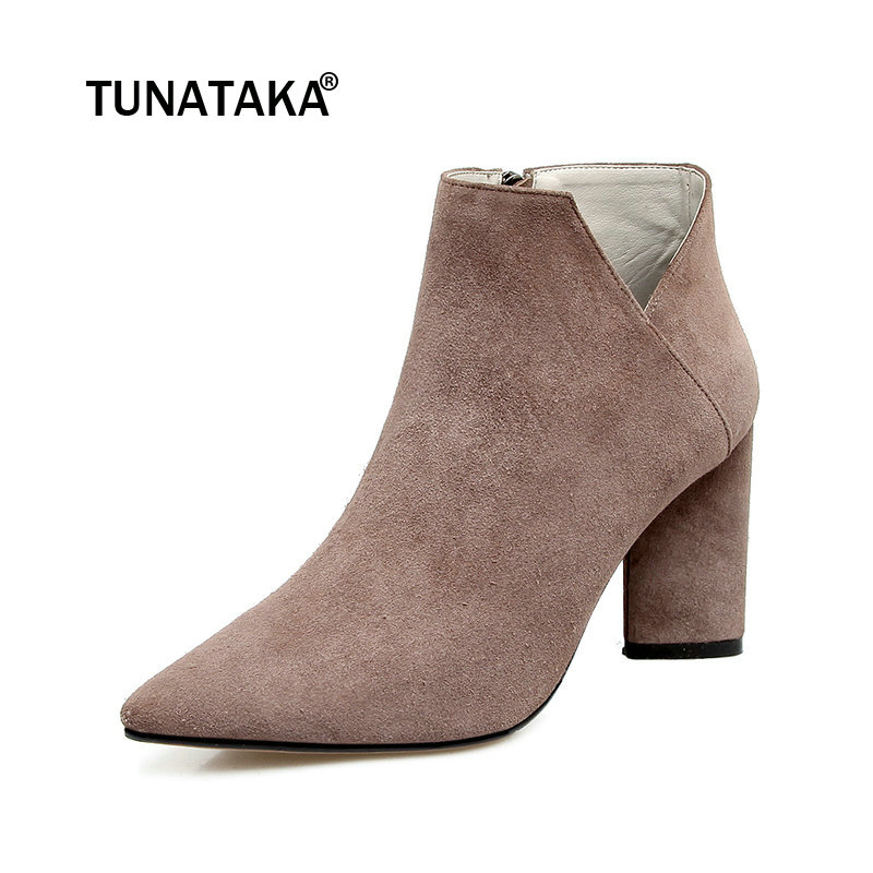 все цены на Suede Square High Heel Side Zipper Woman Ankle Boots Fashion Pointed Toe Dress Ladies Black Pink