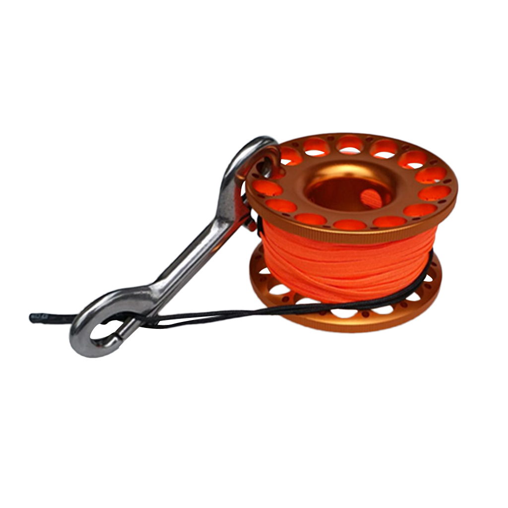 Scuba Diving Dive Swim Aluminum Alloy Finger Reel Spool with 15m Line Bolt Snap Swimming Diving Accessories