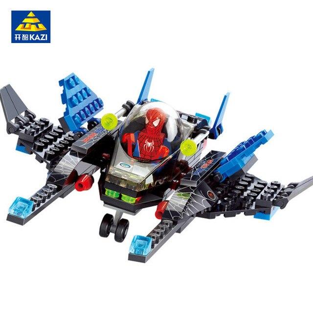 Conjuntos de Blocos de Construção KAZI 133 pcs Super Heroes Spiderman Compatível LegoINGs Figuras Bricks Brinquedos Educativos para Crianças