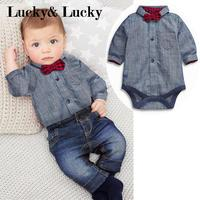 Newborn Baby Boy Clothes Gentleman Grey Rompers With Bow Jeans Baby Boys Clothing Set