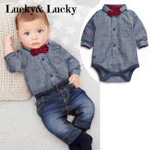 Image 1 - 2pcs/set newborn baby boy clothes gentleman grey rompers with bow + jeans baby boys clothing set