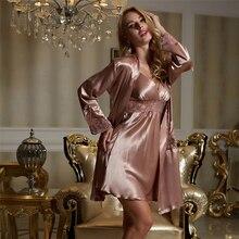 Xifenni Conjunto de Bata de seda para mujer, ropa de dormir femenina de seda de imitación sedosa, albornoces de encaje Sexy, camisón de bordado, conjuntos de dos piezas X8207