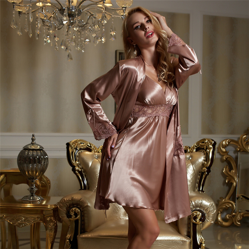 Xifenni Silk Robe Sets Female Silky Faux Silk Sleepwear Woman Sexy Lace Embroidery Bathrobes Nightdress Two Piece Sets X8207-in Robe & Gown Sets from Underwear & Sleepwears