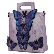 Party Handbag Tote-Bag Painted Embroidered Butterfly Luxury Floral Animal Women Pu Bolsos