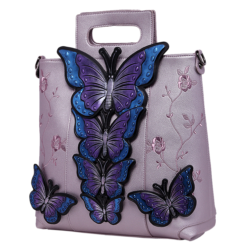 2018 New Women Butterfly Embroidered Tote Bag Painted Animal Shoulder Bags Big Pu Leather Bolsos Floral Party Handbag Luxury