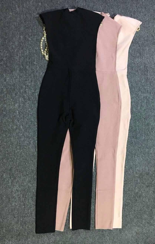 2018 Новые поступления пикантные модные черный белый розовый пыльный розовый Кристалл Назад Открыть бинты Комбинезоны; оптовая продажа; Прямая поставка;