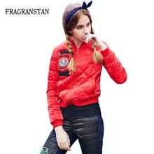 Зимняя Новая женская модная красная короткая белая куртка-пуховик на утином пуху теплые тонкие бейсбольные куртки на молнии с вышитыми буквами LY90