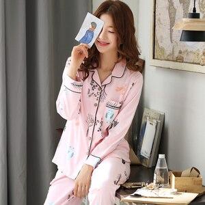 Image 2 - Pyjamas femmes 2018 nouveau printemps coton Pijamas ensemble mignon rose vêtements de nuit de dessin animé Pyjamas pour femmes Pijama Feminino Pyjama 2 pièces/ensemble