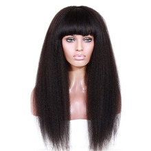 9A Brazilian Italian Yaki Full Lace Wigs Glueless Virgin Kinky Straight Lace Front Human Hair Wigs With Bangs For Black Women