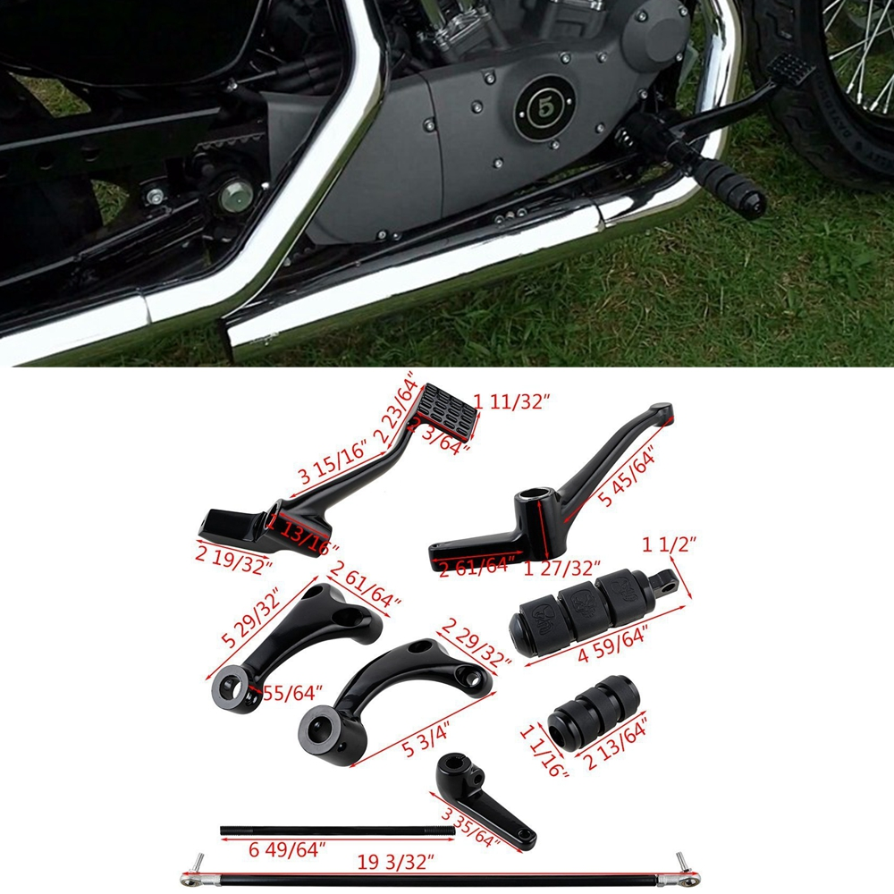 Complete Forward Controls Kit with Pegs Levers Linkages For Harley Sportster 1200 883 Iron XL883N XL883L Superlow 2004-2013 for harley sportster 883 1200 chrome forward controls kit pegs levers linkage