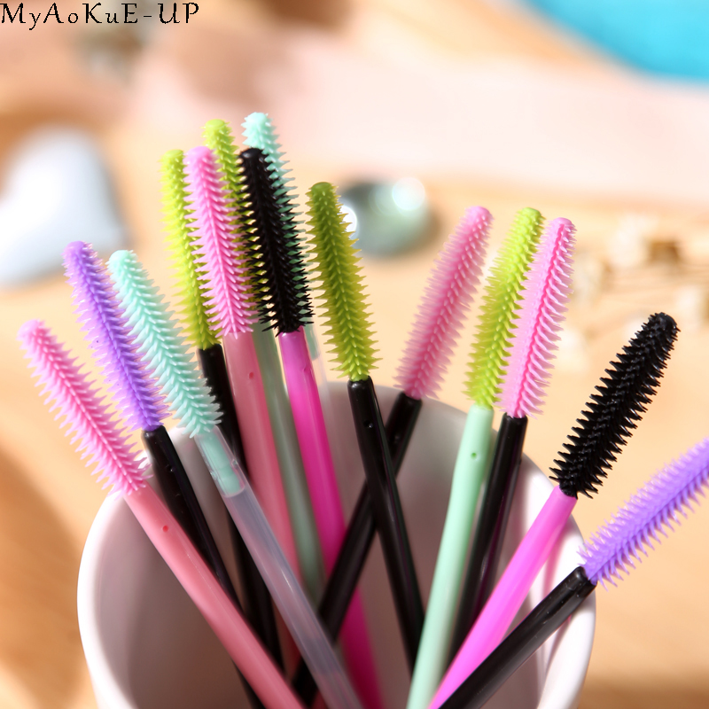 Image 3 - 1000 pcs/lot Wholesale Silicone Eyelashes Brushes 21 colors  Disposable Makeup Brushes Eyelash Extension Mascara Wand Applicator-in Eye Shadow Applicator from Beauty & Health