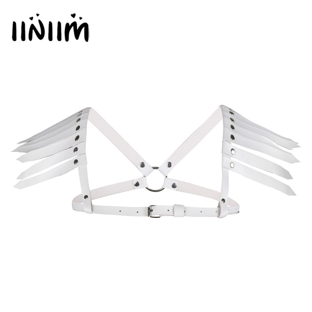 2 Color Unisex Faux Leather Adjustable Body Chest Harness Belt with Feather Shoulder for Costume Party Clothing Belts with Shirt