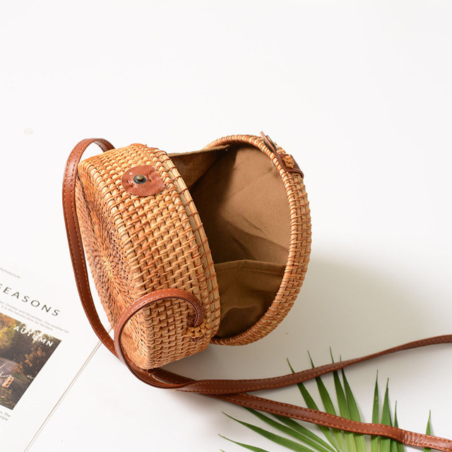 Vintage Handmade Women Rattan Bag Straw Woven Shoulder Bags Bow Holiday Beach Bohemia Crossbody Bag Messengers Handbag 2