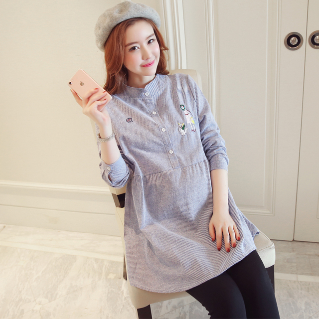 eb000f24508f2 Pengpious 2019 maternity clothes embroidery autumn winter plus size pregnant  women blouses fashion pregnancy long loose shirts