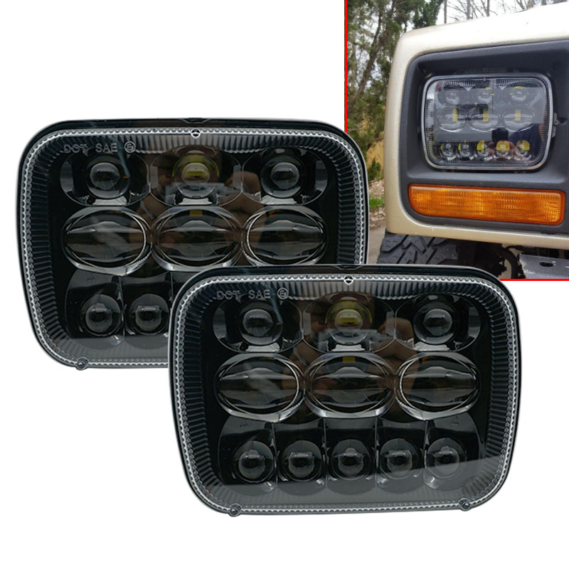 6x7 inch square led headlight 5x7 led truck front headlamp High/Low beam for Jeep Cherokee XJ Jeep wrangler YJ Jeep Comanche MJ 2pcs brand new high quality superb error free 5050 smd 360 degrees led backup reverse light bulbs t15 for jeep grand cherokee
