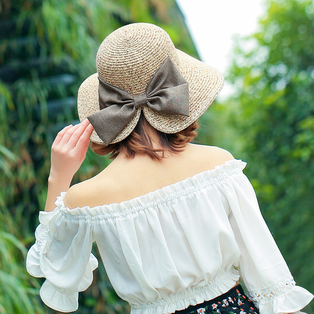 eb177da4 LANHUIFD New Chic Elegant Summer Girl Big Bowknot Straw Hats Beach Sun hat  Bohemia Wide Brim Floppy Panama For Visor Women
