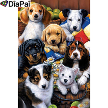 DIAPAI 5D DIY Diamond Painting 100% Full Square/Round Drill Animal dog family Embroidery Cross Stitch 3D Decor A21644