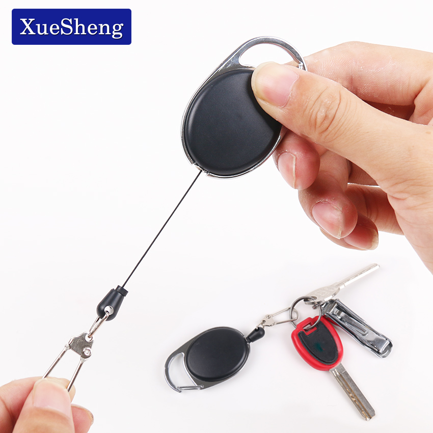 Retractable Pull Badge Reels Zinc Alloy Plastic ID Lanyard Name Tag Card Badge Holder Reels Recoil Ring Clips
