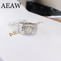 Платиновым покрытием серебра 1ct 6,5 мм круглой огранки DF Муассанит Обручение кольцо Юбилей кольцо Муассанит кольцо для Для мужчин