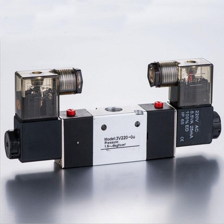 AIRTAC Solenoid valve 3V220-06 3V200 Series  3/2 way 1/8 BSPT pneumatic air control valve 4v130 06 dc24v 1 8 bspt 3 5way medium closed control solenoid magnetically air pneumatic valve