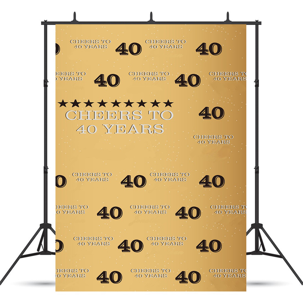 5X7ft <font><b>40th</b></font> <font><b>Birthday</b></font> Golden Photography <font><b>Backdrop</b></font> Adult Step Cheers to 40 Years Background Forty Years Old Age Party Decoration image