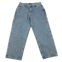 Харадзюку винтажные потертые джинсы свободного кроя мужские широкие брюки с открывающимися мешковатыми джинсовыми джинсами в синем/черном цвете