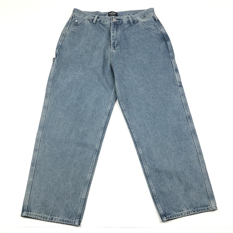 Harajuku Vintage Washed Loose Fit Jeans Men Wide Leg Opening Baggy Denim Jeans In Blue/Black