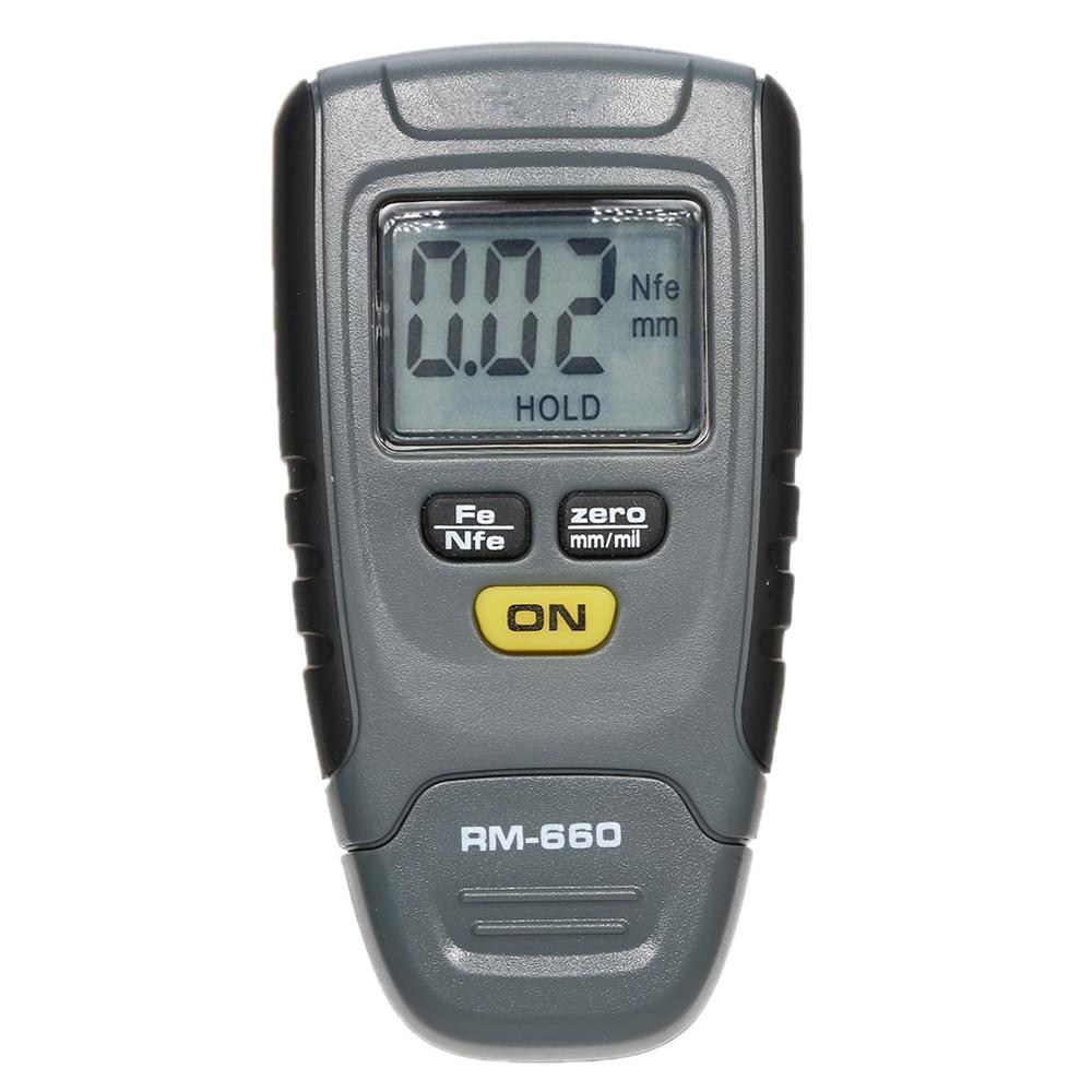 цена на Original Digital Paint Coating RM660 Thickness Gauge LCD Fe/NFe 0-1.25mm Portable Car Instrument Iron Aluminum Base Metal Meter