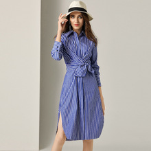 Women Shirt Dress 100% Cotton Spring Summer 2019 New Fashion Stripes Turn Down Collar Long Sleeved Slim Waist Split Casual Dress women shirt dress 100% cotton spring summer 2019 new fashion stripes turn down collar long sleeved slim waist split casual dress