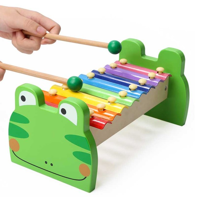 Child Kid Baby 8-Note Frog Wooden Xylophone Musical Toys Xylophone Wisdom Juguetes Music Instrument FL