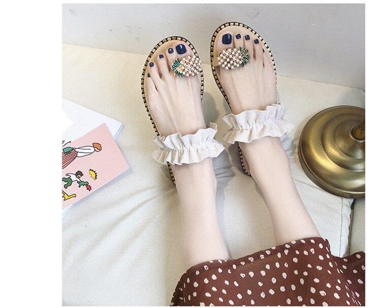 HTB1A6FJbRWD3KVjSZFsq6AqkpXa0 Women Sandals Flip Flops Slippers Flats Shoes String Bead Summer Fashion Wedges Woman Slides Pineapple Lady Casual Female