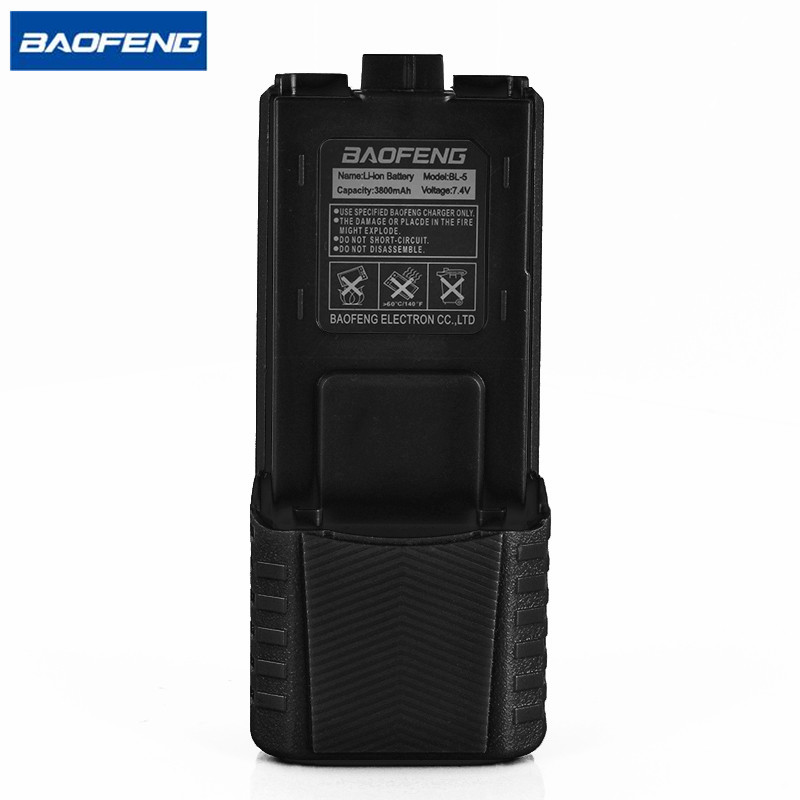 Baofeng UV-5R BL-5 External Battery 3800mAh 7.4V Li Ion Battery Rechargeable Radio Battery For UV-5R BF-F8 Walkie Talkie Black
