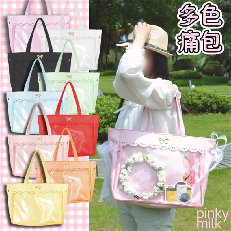 Comicon 9 Colors Japanese Lolita Cute Anime Transparent Doll Itabag Handbag Cute Lace Trim Bowknot Women Casual Shoulder Bag