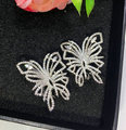 Hotsale new elegant Korean CZ jewelry AAA cubic zircon solid butterfly exaggerated party stud earrings women jewelry gift