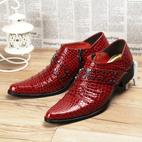 4 Cm Thick High Heel Men Wedding Party Dress Genuine Leather Rivets Shoes Slip On Driving
