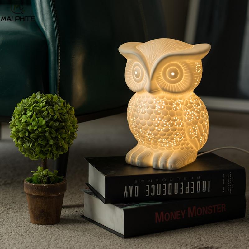 Новинка белая керамическая сова ночник Луна лампа для спальни прикроватная лампа для гостиной детский подарок мультяшный Ночник светильни...