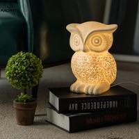 Novelty White Ceramic Owl Night Light moon lamp for Bedroom Bedside Lamp Living Room Kid's Present Cartoon Night Light Luminaire