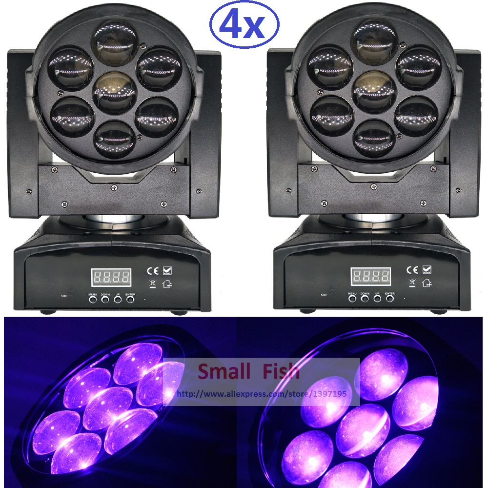 4xLot 110W LED Moving Head Zoom Light Mini 7*15W High Power RGBW 4IN1 Color Mixing DMX 10 / 14 Channel Super Bright LED DJ Disco