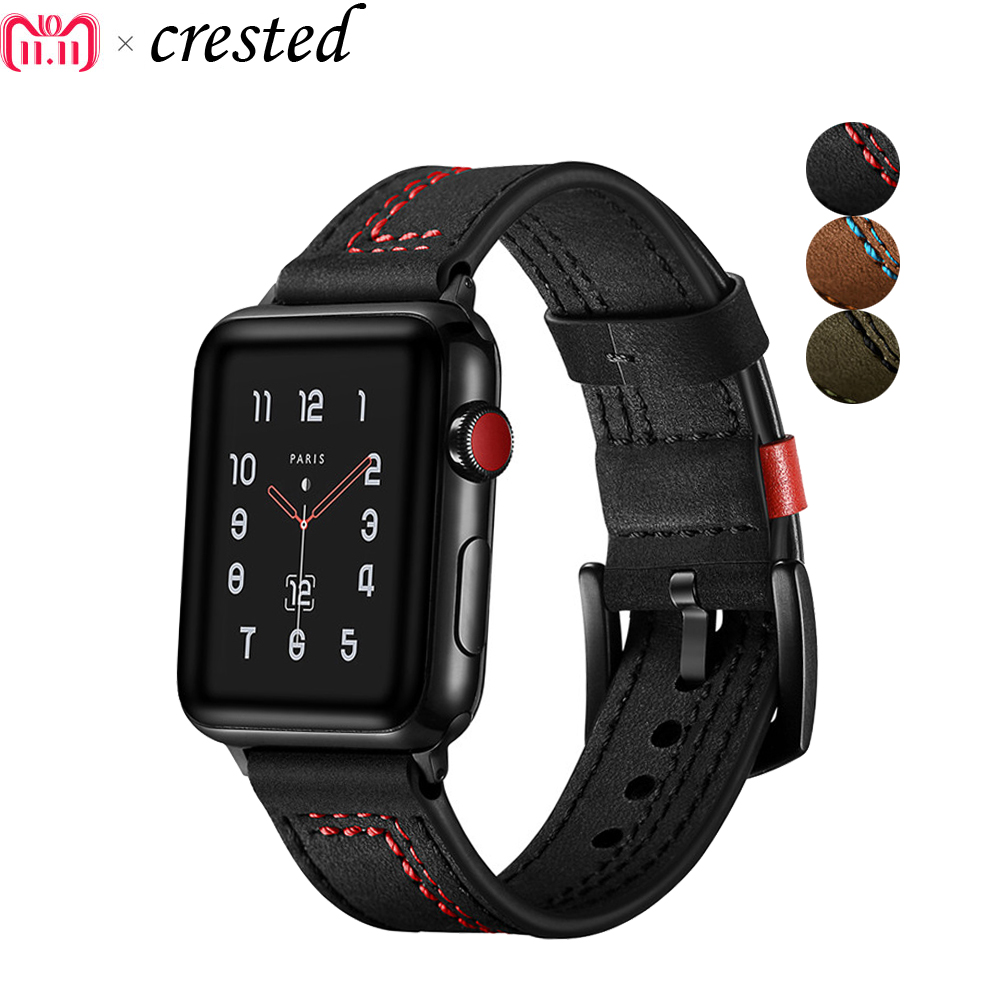 Correa de cuero genuino para apple watch series 4/3/2/1 iwatch band 42mm/38mm/42mm/40mm pulsera reloj de pulsera accesorios para cinturón