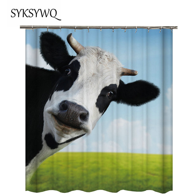 Black And White Cow Shower Curtain Animal Bathroom Green Grass Cortina Bano Tela Blue Sky