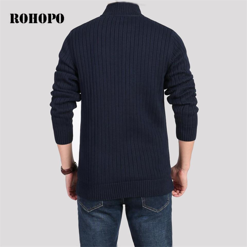 ROHOPO Thickness Cotton Fleece Liner Keep Warmly Sweater For Men,Top Brand Male Militar Cargo Tolling Knitted Pullover Underwear