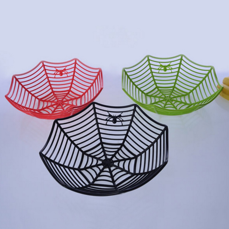hot plastic spider web fruits candy basket creative spiderweb bowl halloween party decor 2017 new - 2017 Halloween Candy