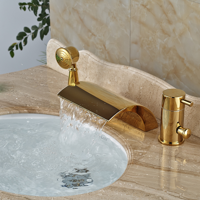 Contemporary Widespread Bathtoom Bathtub Mixers Deck Mount 3 Holes Brass Golden Tub Faucet