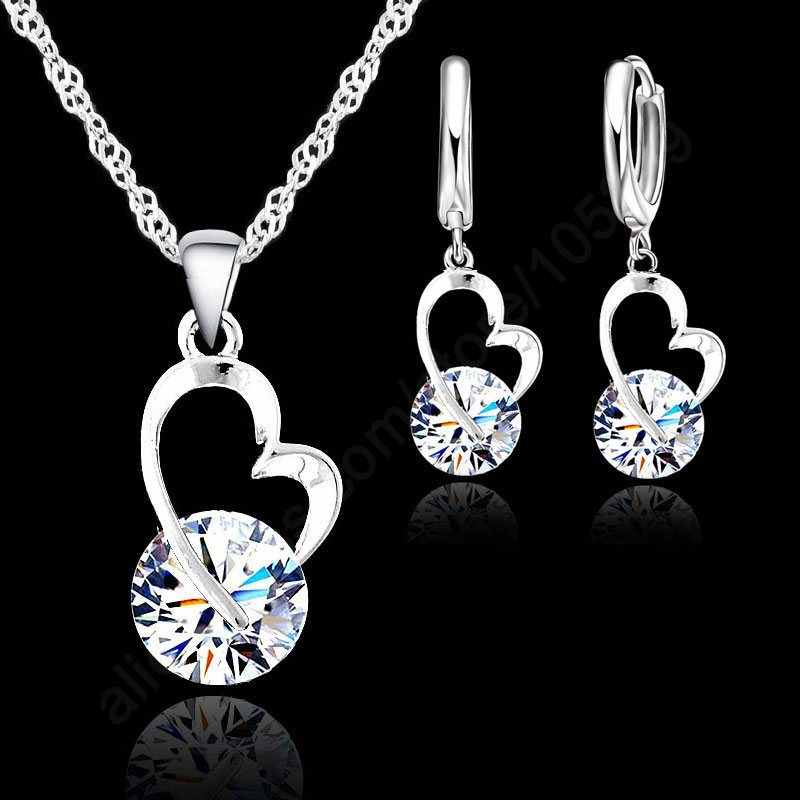 New Fashion Shiny Cubic Zircon Jewelry Set 925 Sterling Silver Heart Pendant Necklace+ Dangle/Hoop Earrings Set For Women