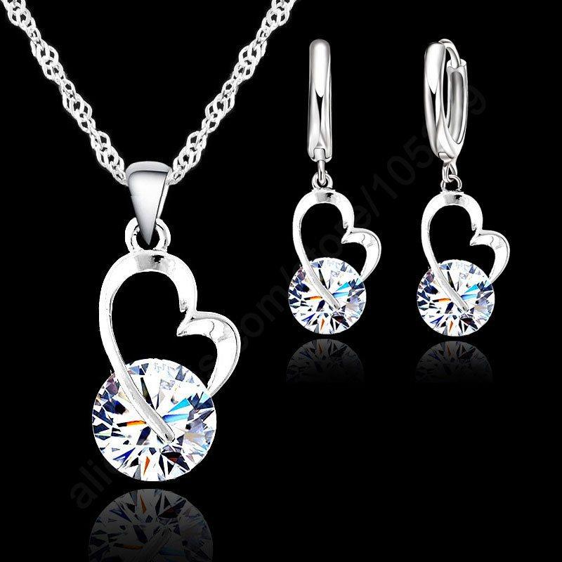 New Fashion Shiny Cubic Zircon Jewelry Set 925 Sterling Silver Heart Pendant Necklace+ Dangle/Hoop Earrings Set For Women