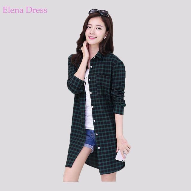 Women Checked Plaid Shirts Lapel Neck Long Sleeve Loose Elegant Plus Size Blouses  Red Green Black Blusas Femininas Cotton Tops c5b5a3eb5f7a