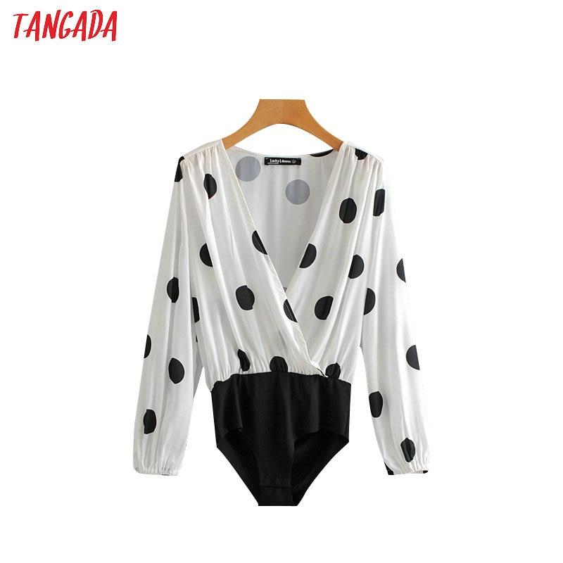 Tangada Women Bodysuit Polka Dot Body Suit Sexy V Neck Shirt Chic Lantern Sleeve Ladies Playsuit Tops SY79